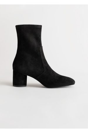 & OTHER STORIES Suede Almond Toe Sock Boots