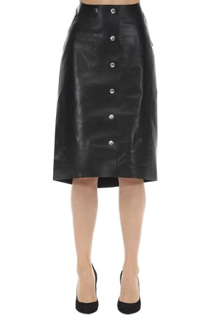 Victoria Beckham High Waisted Leather Midi Skirt