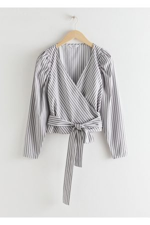 & OTHER STORIES Striped Puff Sleeve Wrap Top - Grey