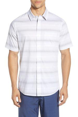 Travis Mathew Men's Grand Slammed Regular Fit Stripe Short Sleeve Button-Up Shirt