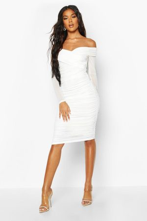 Boohoo Womens Off Shoulder Ruched Mesh Bodycon Midi Dress - - 2
