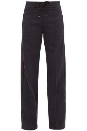 Moncler Side Stripe Cotton Blend Track Pants - Womens - Navy