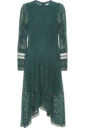 Chloé Asymmetric lace midi dress