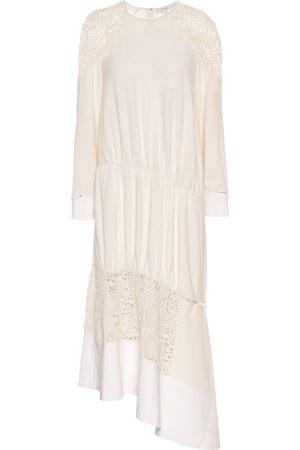 tibi Asymmetric guipure lace midi dress