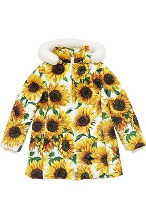 Dolce & Gabbana Sunflower Print Nylon Down Coat W/ Fur
