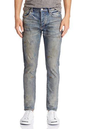Purple Brand Oil-Splashed Skinny Fit Jeans in Indigo Oil