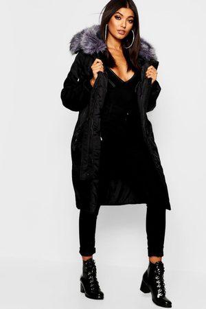 Boohoo Womens Oversized Faux Fur Fly Hood Luxe Parka - - 4