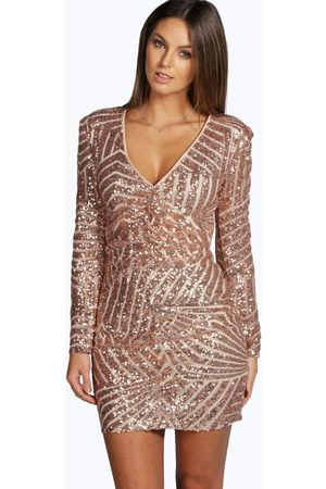 Boohoo Womens Boutique Sequin Panelled Bodycon Dress - - 2