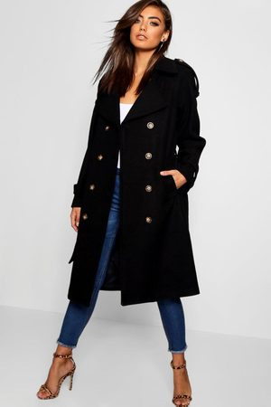 Boohoo Womens Belted Wool Look Trench - - 4
