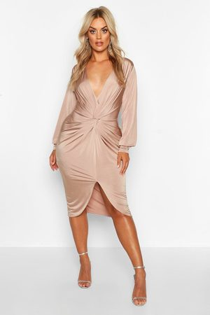 Boohoo Womens Plus Twist Front Plunge Midi Dress - - 24