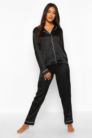Boohoo Womens Satin Button Through Shirt And Pants Pajama Set - - 2