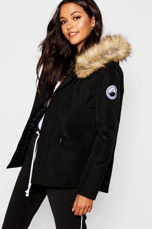Boohoo Womens Luxe Faux Fur Sporty Parka - - 4