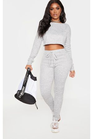 PRETTYLITTLETHING Women Leggings - Shape Grey Marl Knit Tie Waist Leggings