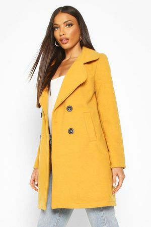 Boohoo Womens Double Breasted Collared Wool Look Coat - - 4