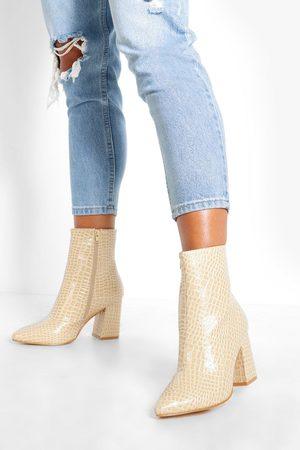 Boohoo Womens Wide Width Croc Block Heel Boots - - 5