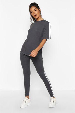 Boohoo Womens Side Stripe T-Shirt Leggings Loungewear Set - - 2