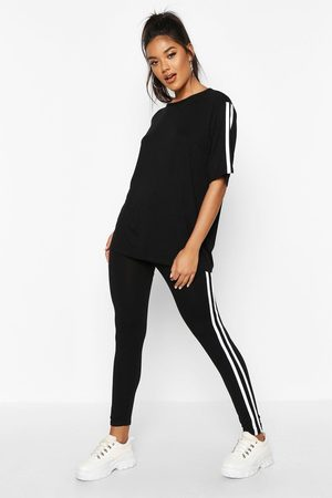 Boohoo Womens Side Stripe T-Shirt Leggings Lounge Set - - 6