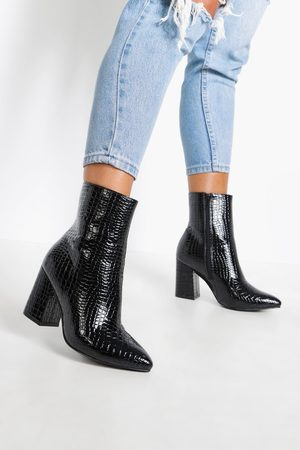 Boohoo Womens Wide Fit Croc Block Heel Sock Boots - - 5