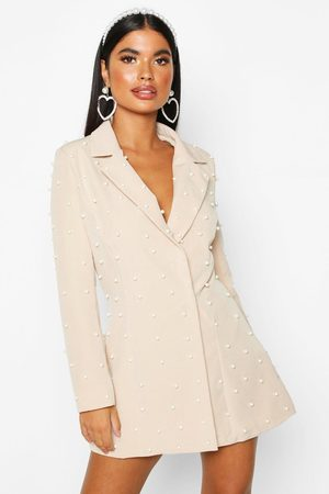 Boohoo Womens Petite Pearl Detail Blazer Dress - - 2