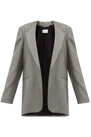 Raey Oversized Collarless Wool-blend Blazer - Womens - Grey
