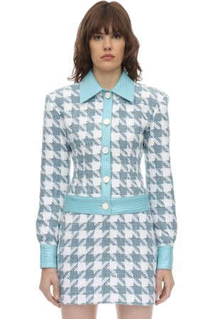 ROWEN ROSE Checked Cotton Tweed Jacket