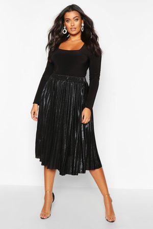 Boohoo Women Midi Skirts - Womens Plus Metallic Pleated Midi Skirt - - 12
