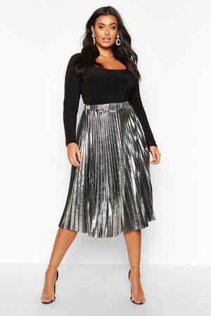 Boohoo Womens Plus Metallic Pleated Midi Skirt - - 12