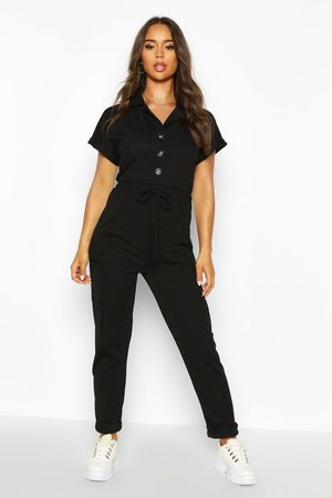 Boohoo Womens Utility Pocket Button Front Jumpsuit - - 4