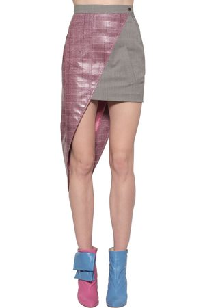 Natasha Zinko Asymmetric Coated Wool Blend Mini Skirt