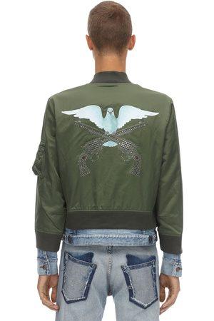 3.Paradis Dove Printed Bomber Jacket W/ Denim