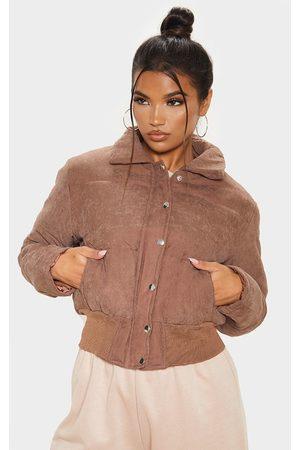 PRETTYLITTLETHING Chocolate Peach Skin Puffer Jacket