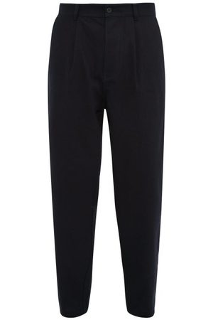 Raey Wide Leg Pleated Cotton Trousers - Mens - Navy