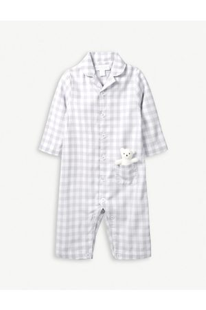 The Little White Company Girls Accessories - Gingham cotton sleepsuit with toy