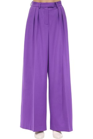 LESYANEBO Wide Leg Wool Twill Pants