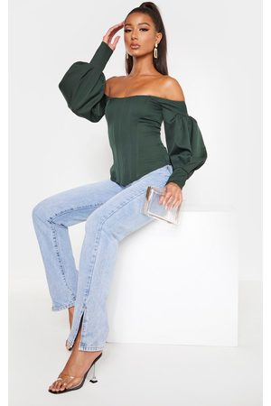 PRETTYLITTLETHING Women Tops - Emerald Bardot Balloon Sleeve Corset Top