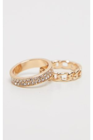 PRETTYLITTLETHING Diamante And Chain Two Pack Rings