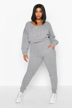 Boohoo Womens Plus Cropped V Neck Knitted Lounge Set - - 16/18