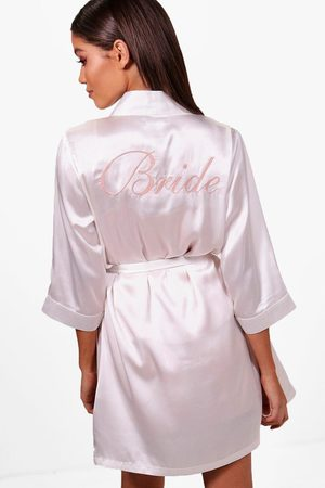 Boohoo Womens Bride Satin Robe - - S