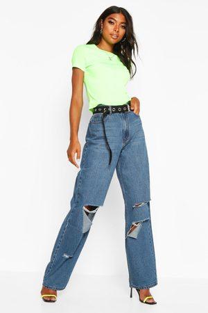Boohoo Womens Tall Rip Boyfriend Jeans - - 2
