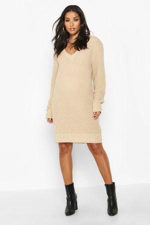 Boohoo Womens Maternity V Neck Sweater Dress - - L