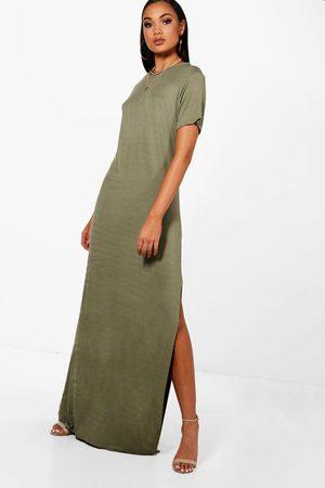 Boohoo Womens Tall Split Side T-Shirt Maxi Dress - - 2