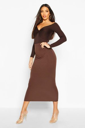 Boohoo Womens Basic Jersey Midi Skirt - - 2