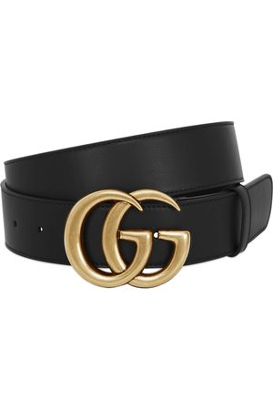 Gucci Men Belts - 40mm Gg Gold Buckle Leather Belt