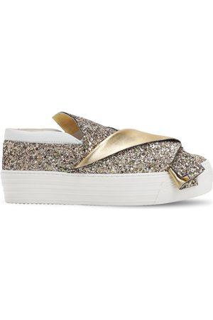 Nº21 Girls Flat Shoes - Glittered Slip-on Sneakers