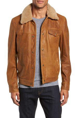 Schott NYC Men's Vintage Buffalo Leather Trucker Jacket With Genuine Sheepskin Collar