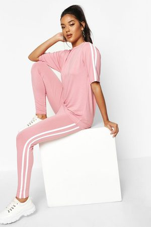 Boohoo Womens Side Stripe T-Shirt Leggings Lounge Set - - 4