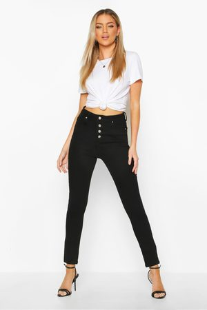 Boohoo Womens Exposed Button Front High Rise Skinny Jeans - - 4