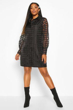 Boohoo Womens Plus Organza Flannel Shirt Dress - - 12