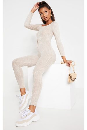 PRETTYLITTLETHING Oatmeal Rib Knitted Bardot Jumpsuit