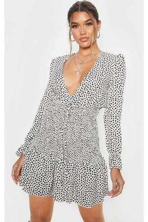 PRETTYLITTLETHING Dalmatian Print Shirred Frill Hem Bodycon Dress